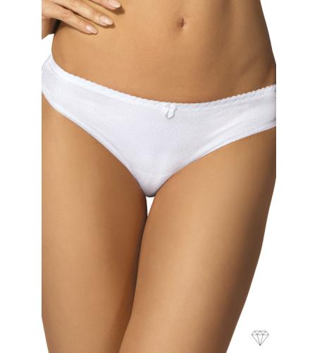 Bele spodnje hlačke v kroju tangic krojene iz prijetne žakardne tkanine, okrašene z nežnim vzorcem.