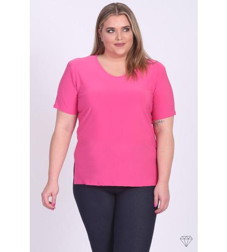 Viskozna majica s kratkimi rokavi za močnejše postave v barvi fuksije