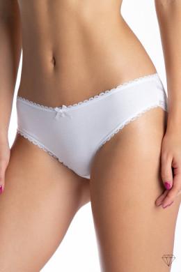 Paket dvojnih belih ženskih spodnjih hlačk s čipko.