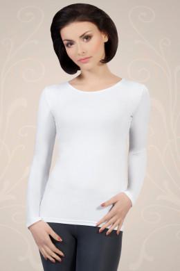 Bela ženska majica iz viskoze z dolgimi rokavi, ki jo lahko nosite kot spodnje perilo ali kot samostojno oblačilo.