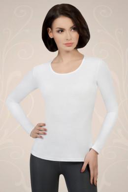 Bela ženska majica iz bombaža z dolgimi rokavi, ki jo lahko nosite kot spodnje perilo ali kot samostojno oblačilo.