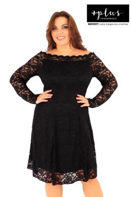 Čipkasta obleka v črni barvi, sešita iz raztegljive satenaste čipke in podložena s podlogo.