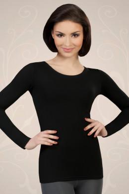 Črna ženska majica iz viskoze z dolgimi rokavi, ki jo lahko nosite kot spodnje perilo ali kot samostojno oblačilo.
