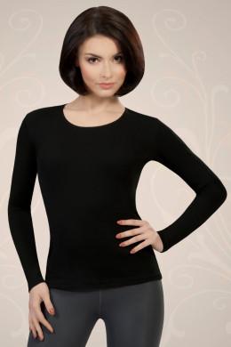 Črna ženska majica iz bombaža z dolgimi rokavi, ki jo lahko nosite kot spodnje perilo ali kot samostojno oblačilo.