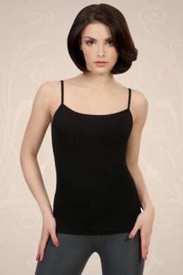 Črna ženska majica iz bombaža na tanke naramnice, ki jo lahko nosite kot spodnje perilo ali kot samostojno oblačilo.