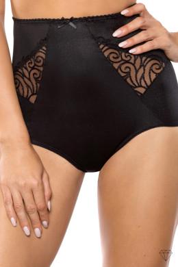 Vabljivo čudovite črne spodnje hlačke z visokim pasom nežno zgladijo pas. Krojene so iz črne tkanine in okrašene z elegantnim črnim vezenjem. Rahlo elastična tkanina omogoča popolno prileganje.