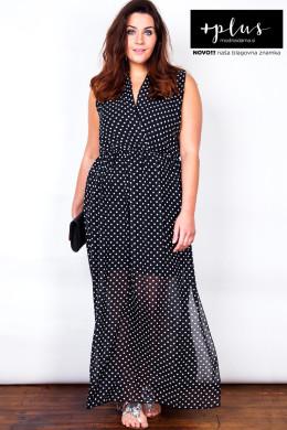 Dolga ženska črna obleka velikih velikosti slovenske blagovne znamke +plus.