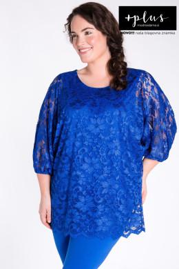 Kraljevsko modra čipkasta bluza večjih velikosti, elegantna modra bluza za močnejše ženske.
