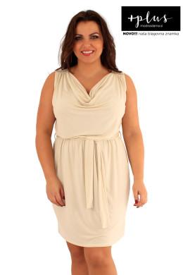 Peščena poletna ženska obleka za močnejše.