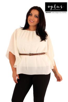 Krem ženska bluza, s priloženim pasom, se odlično poda k vsem krojem hlač.