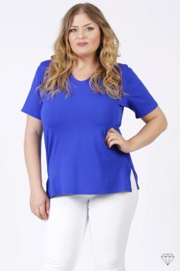 Modra viskozna majica s kratkimi rokavi za močnejše postave