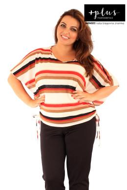 Majica 2v1 v krem barvi z rdečimi in rjavimi črtami.