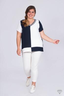 Belo-Modra bluza s kratkimi rokavi za močnejše postave 1