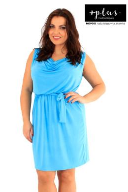 Poletna ženska obleka za močnejše, turkizna ali zeleno modra.