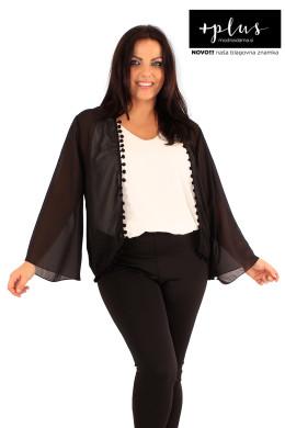 Črn polprozoren ženski blazer.