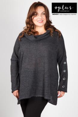 Mehak temno siv pulover večjih velikosti z gumbi na rokavih.