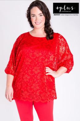 Rdeča čipkasta bluza večjih velikosti, elegantna rdeča bluza za močnejše ženske.