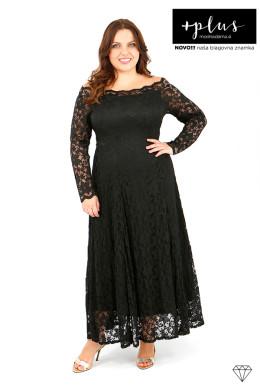 Dolga črna čipkasta ženska obleka za posebne priložnosti.