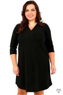 Ženska črna obleka večjih velikosti iz raztegljivega jerseya, ki se lahko nosi tudi kot tunika.