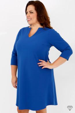 Ženska modra obleka večjih velikosti iz raztegljivega jerseya, ki se lahko nosi tudi kot tunika.