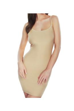 Žensko spodnje perilo za pod obleko ali krilo. Spodnja obleka ni namenjena oblikovanju postave. Gladka tkanina in nastavljive naramnice omogočajo popolno prileganje in udobje.