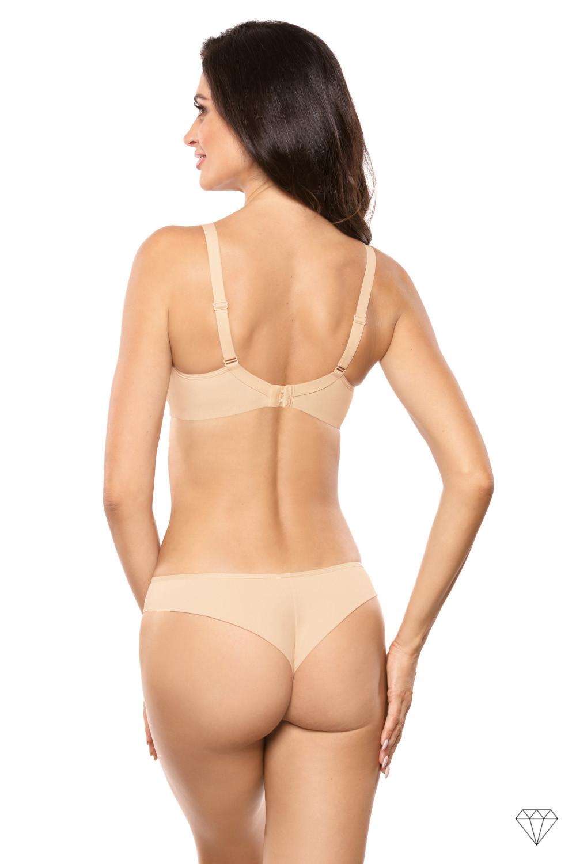 Bež brezšivni podložen nedrček kolekcije Venus omogoča popolno udobje in dvigne prsi, da ustvari lepo obliko. Oblikovan je iz gladke bež tkanine. Satenatsa pentljica med košaricama, da nedrčku eleganten pridih.