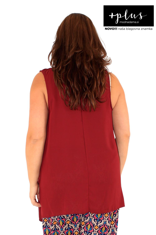 Puli poletna majica brez rokavov v bordo barvi.