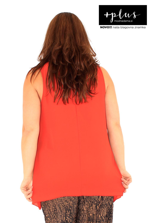 Puli poletna majica brez rokavov v marelični barvi.