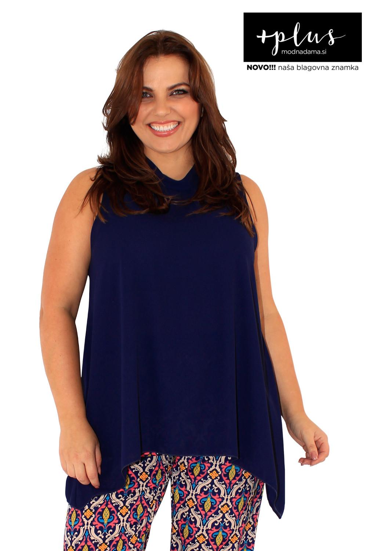 Mornarsko modra puli poletna majica brez rokavov.