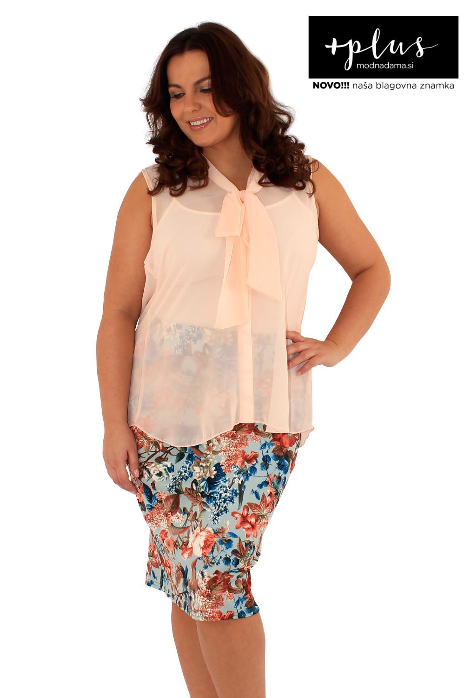 Čudovita krem ženska bluza s pentljo večjih velikosti blagovne znamke +plus.
