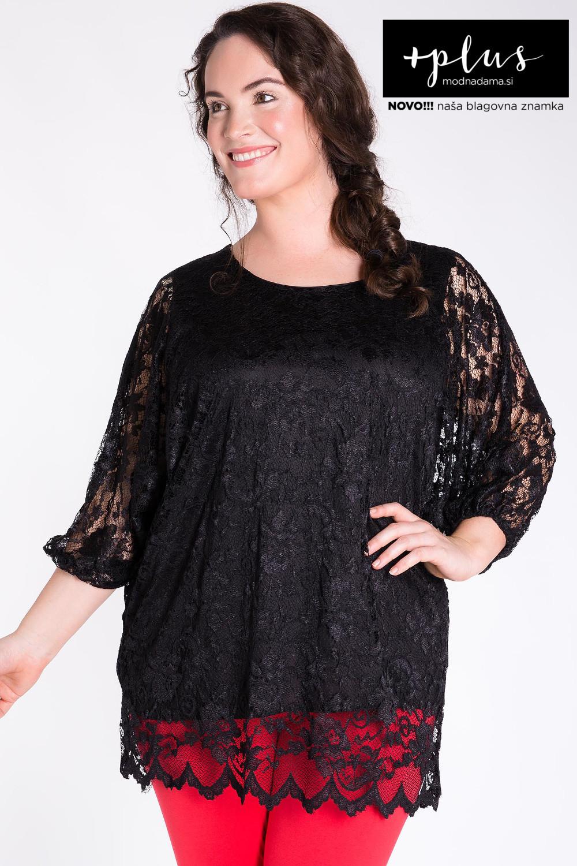 Črna čipkasta bluza večjih velikosti, elegantna črna bluza za močnejše ženske.
