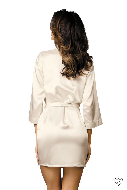 Krem oz. bež elegantna kimono halja krojena iz visoko kakovostnega satena.
