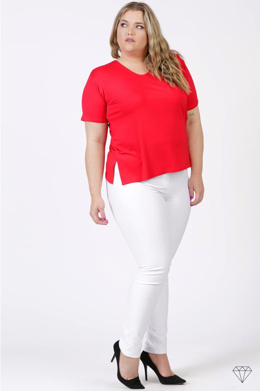Rdeča viskozna majica s kratkimi rokavi za močnejše postave
