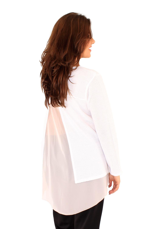 Bel pulover z razporkom in podlogo iz šifona.