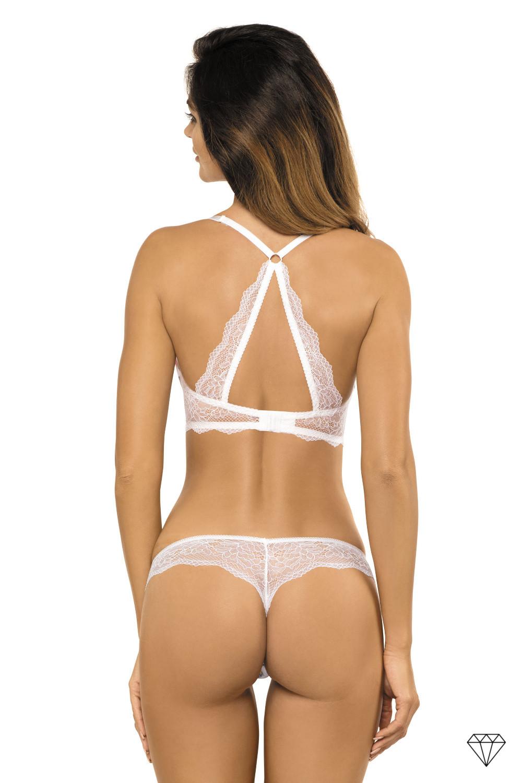 Zapeljiv push-up nedrček kolekcije Salma iz mehke tkanine okrašene in okrašene izvirnim vzorcem elegantne bele čipke in elastičnim tilom.