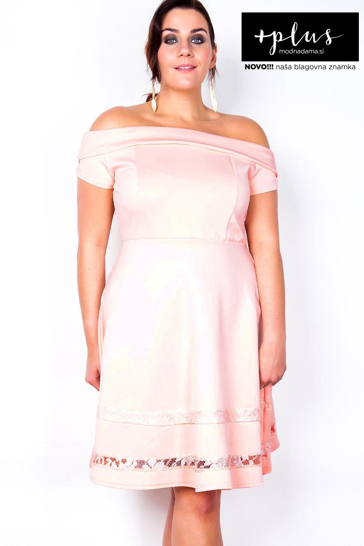 Svetla elegantna večerna obleka v damine blagovne znamke +PLUS spletne trgovine Modna Dama.