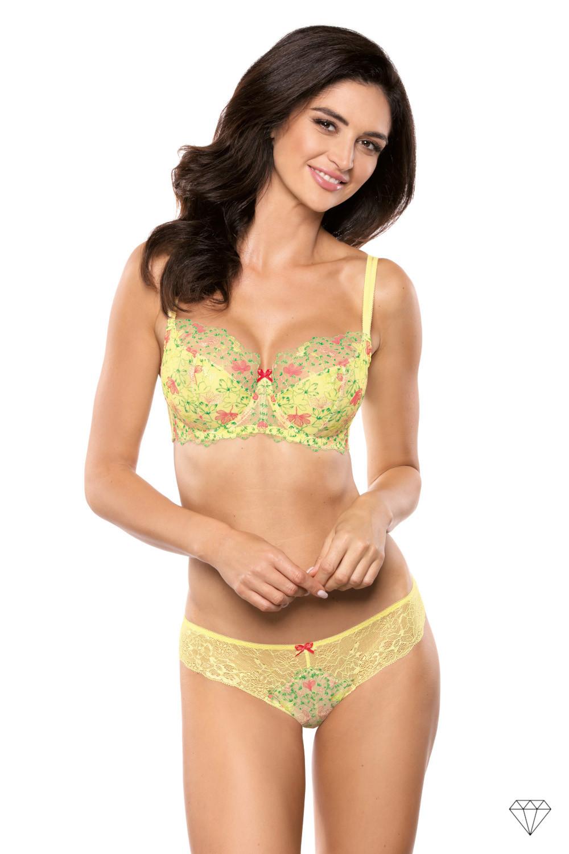 Barviti nepodložen polprosojen nedrček z mehko košarico poudari žensko silhueto. Oblikovan je iz elastičnega tila s čudovitim vezenjem, ki ga krasijo modni zeleno-roza cvetovi in rumena čipka.