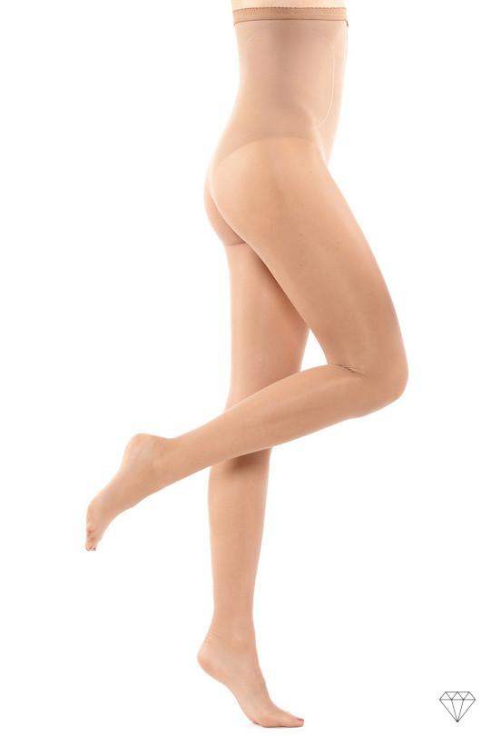 Bež ženske hlačne nogavice (najlonke) z visokim pasom.