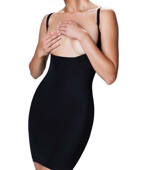 Črna obleka za oblikovanje postave Vika