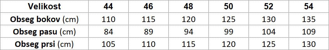 tabela velikosti kolekcije oblačil +PLUS
